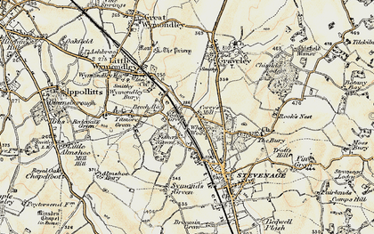 Old map of Fishers Green in 1898-1899