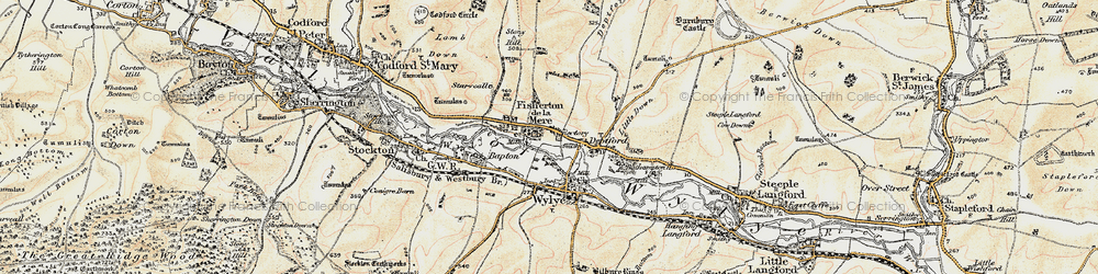 Old map of Wylye Valley in 1897-1899