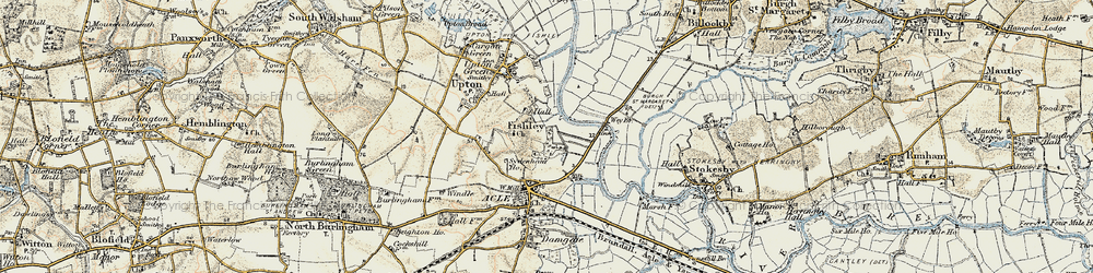 Old map of Acle Br in 1901-1902
