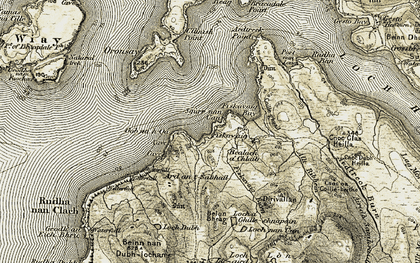 Old map of Oronsay in 1908-1909