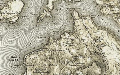 Old map of Fiskavaig in 1908-1909
