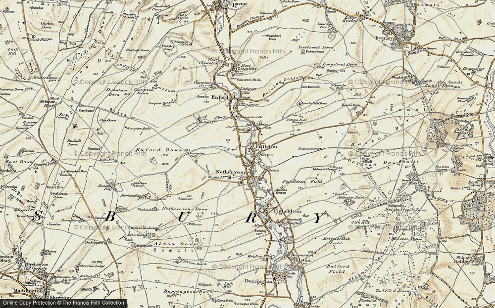 Old Map of Historic Map covering Airfield Camp Netheravon in 1897-1899