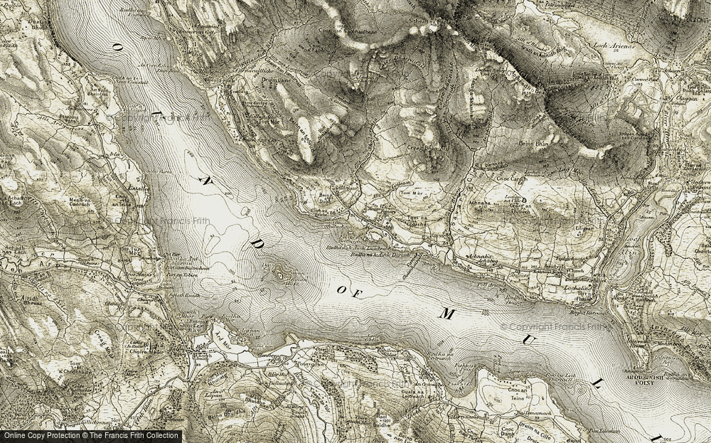 Old Map of Historic Map covering Allt nan Coileach in 1906-1908