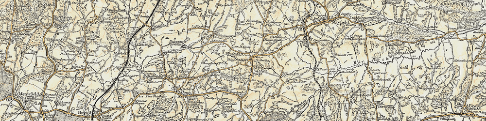 Old map of Five Ashes in 1898