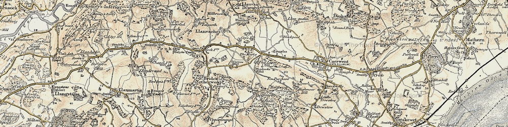Old map of Woodcock Hill in 1899-1900