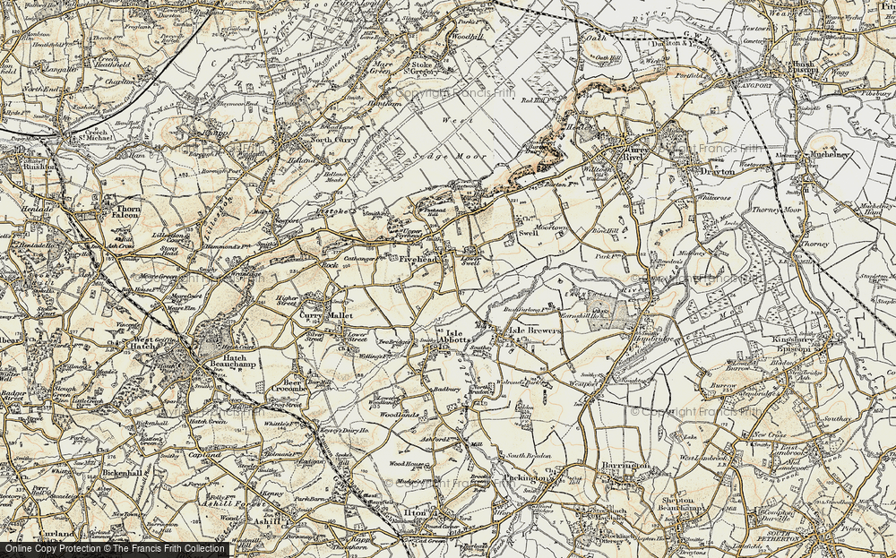 Old Map of Fivehead, 1898-1900 in 1898-1900