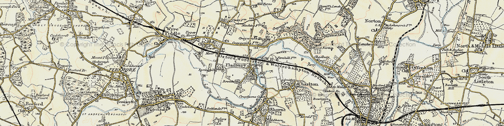 Old map of Fladbury in 1899-1901