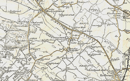 Old map of Flamstead in 1898-1899