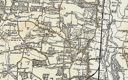 Old map of Flamstead End in 1897-1898