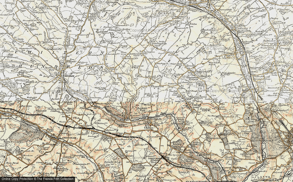 Old Map of Historic Map covering Baldwin's Wood in 1897-1898