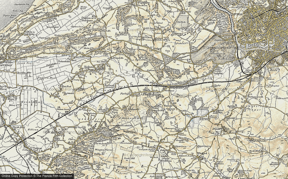 Old Map of Historic Map covering Backwell Ho in 1899