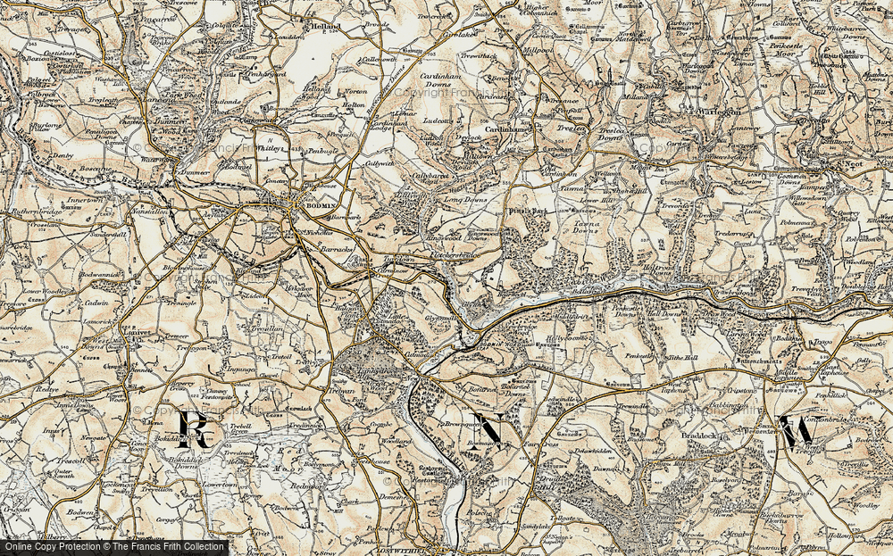 Old Map of Historic Map covering Leball Wood in 1900