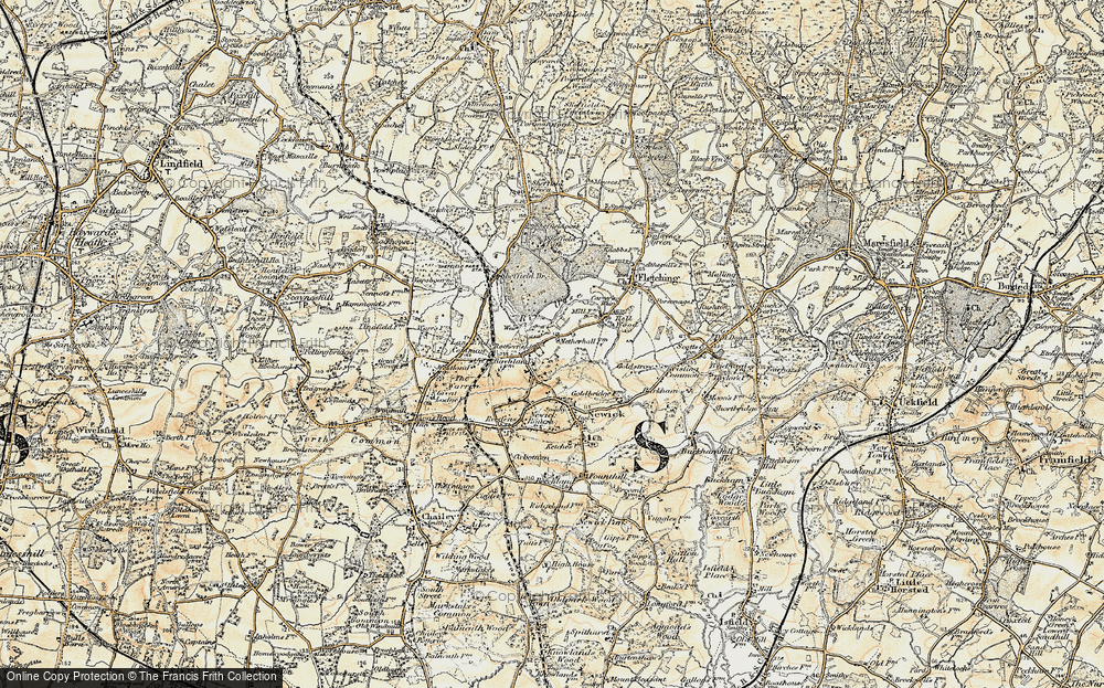 Old Map of Historic Map covering Lane End Common in 1898