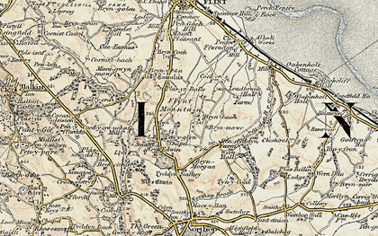 Old map of Flint Mountain in 1902-1903