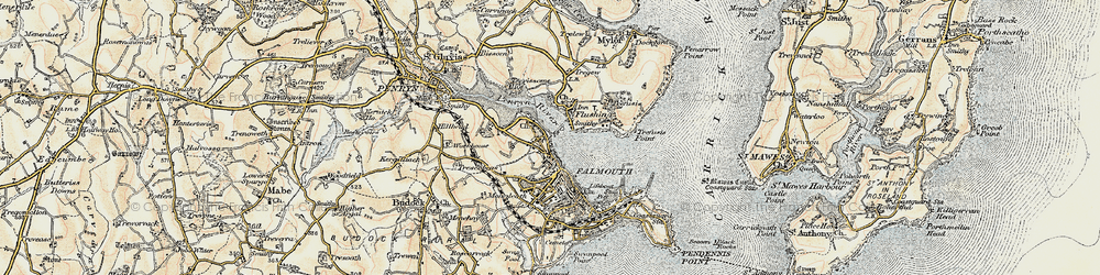 Old map of Flushing in 1900