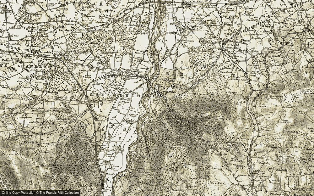Old Map of Historic Map covering Wood of Ordiequish in 1910