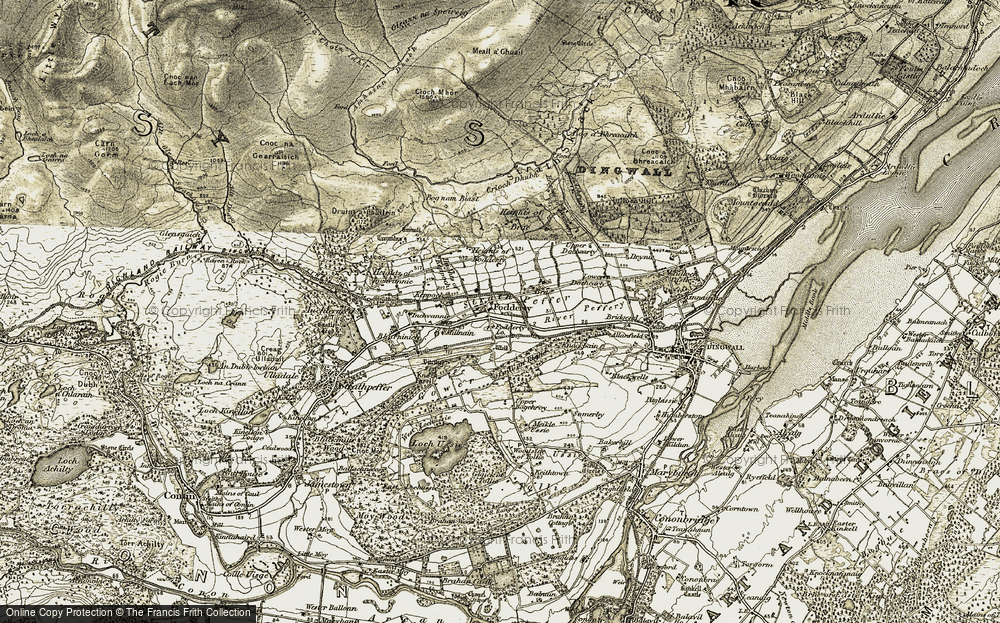Old Map of Historic Map covering Abhainn Sgitheach in 1911-1912