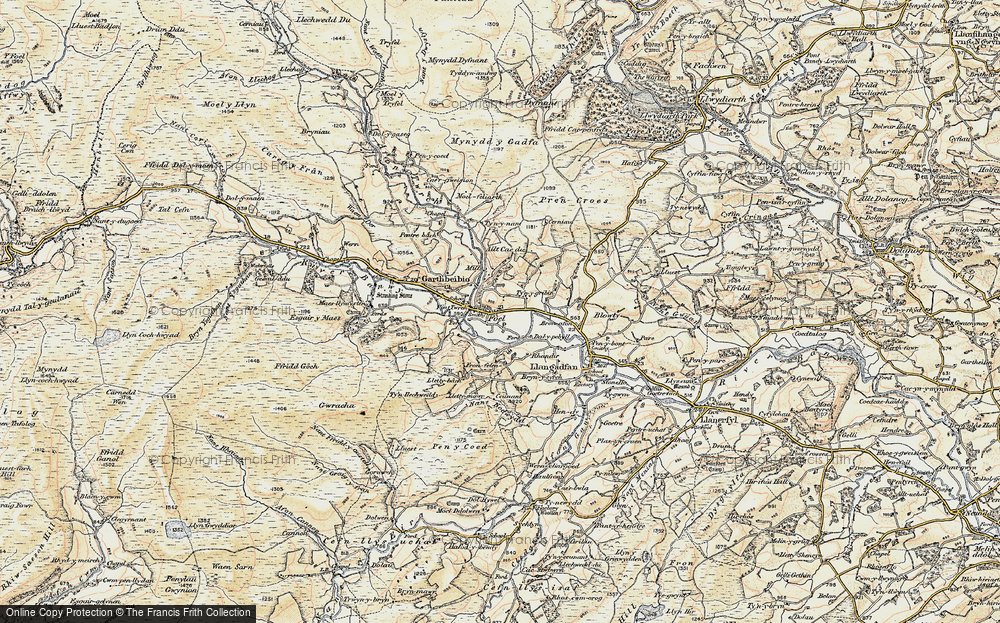 Old Map of Historic Map covering Allt Cae-dû in 1902-1903