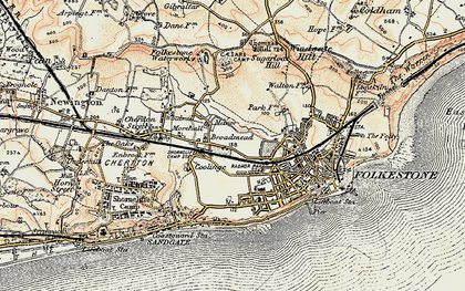 Old map of Folkestone in 1898-1899