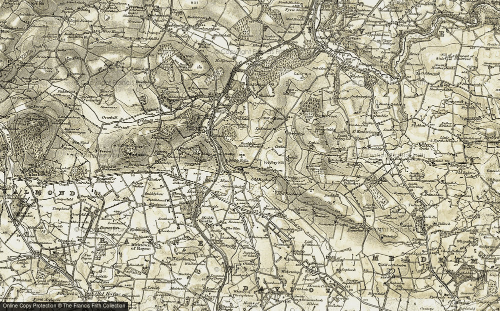 Old Map of Historic Map covering Backhill of Smiddyburn in 1909-1910