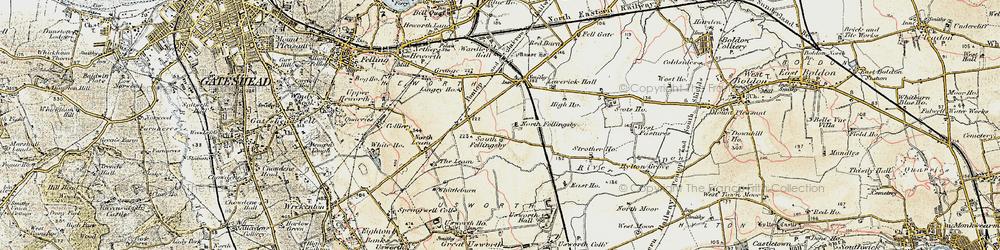 Old map of Wrakendike (Roman Road) in 1901-1904