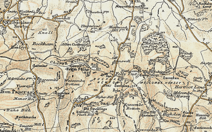 Old map of Ball Hill in 1897-1909