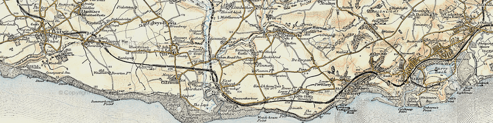 Old map of Fonmon in 1899-1900