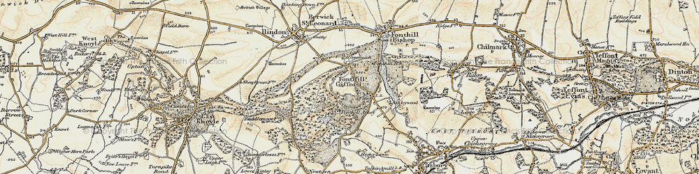 Old map of Fonthill Gifford in 1897-1899
