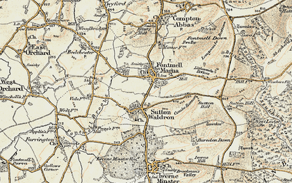 Old map of Fontmell Magna in 1897-1909
