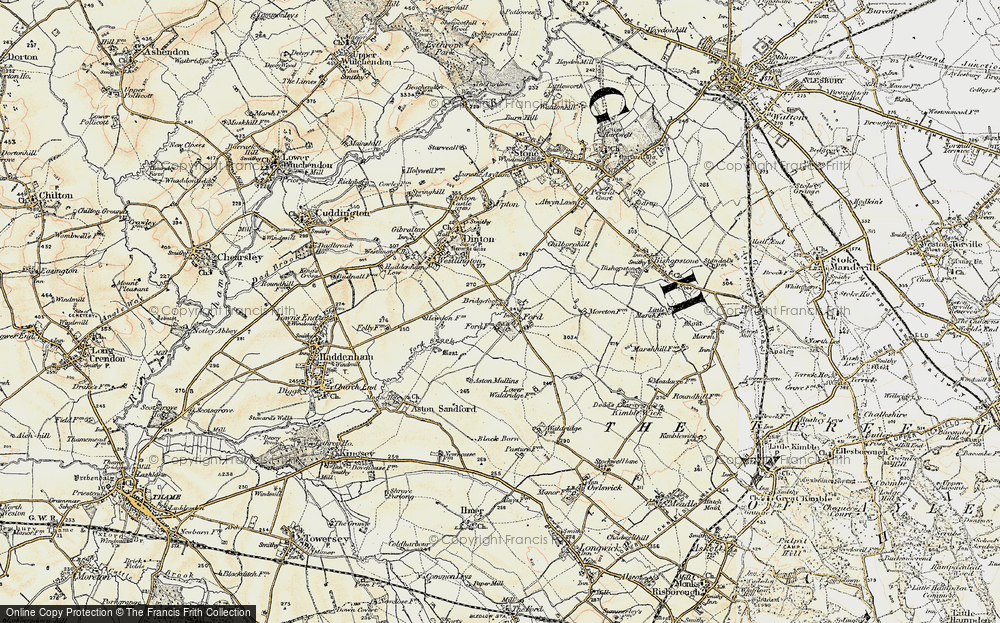 Old Map of Historic Map covering Aston Mullins in 1898