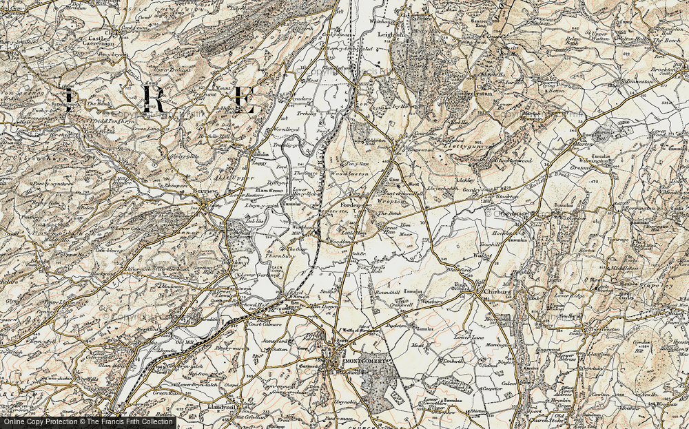 Old Map of Historic Map covering Woodlands in 1902-1903