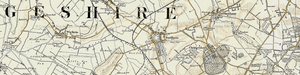 Old map of Fordham in 1901