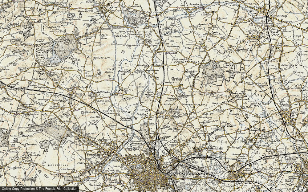 Old Map of Fordhouses, 1902 in 1902