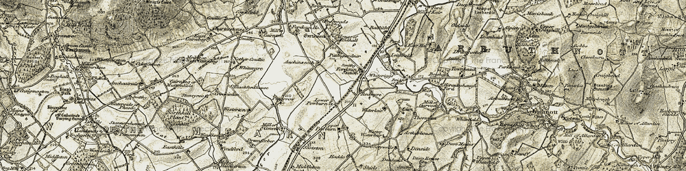 Old map of Whiteriggs in 1908-1909