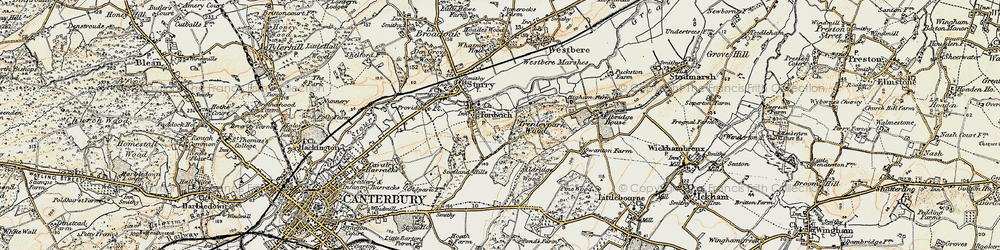 Old map of Fordwich in 1898-1899