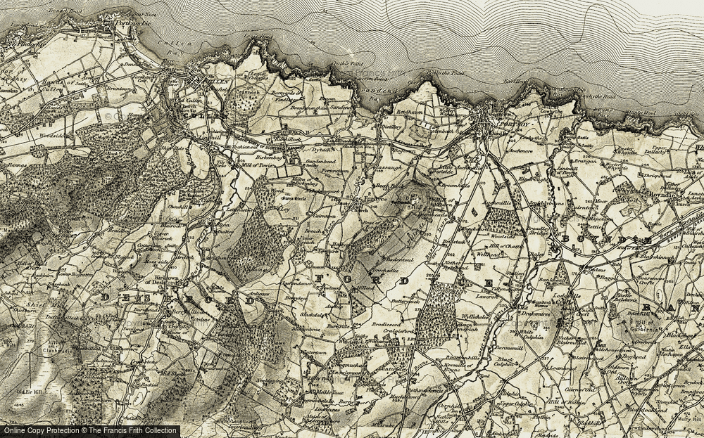 Old Map of Historic Map covering Auchip in 1910