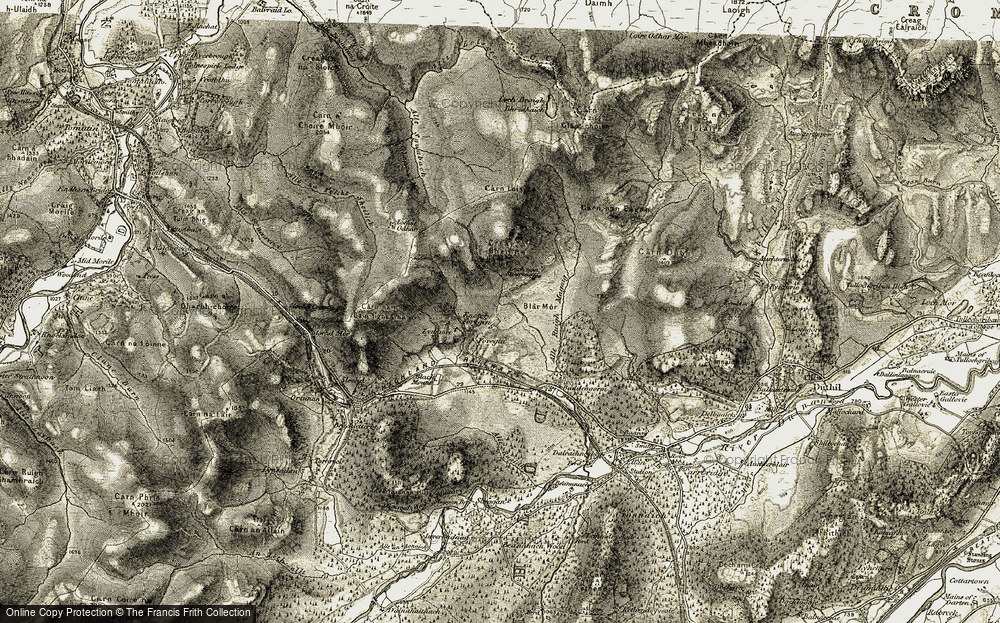 Old Map of Historic Map covering Allt Ruaidh in 1908-1912