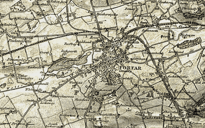 Old map of Forfar in 1907-1908
