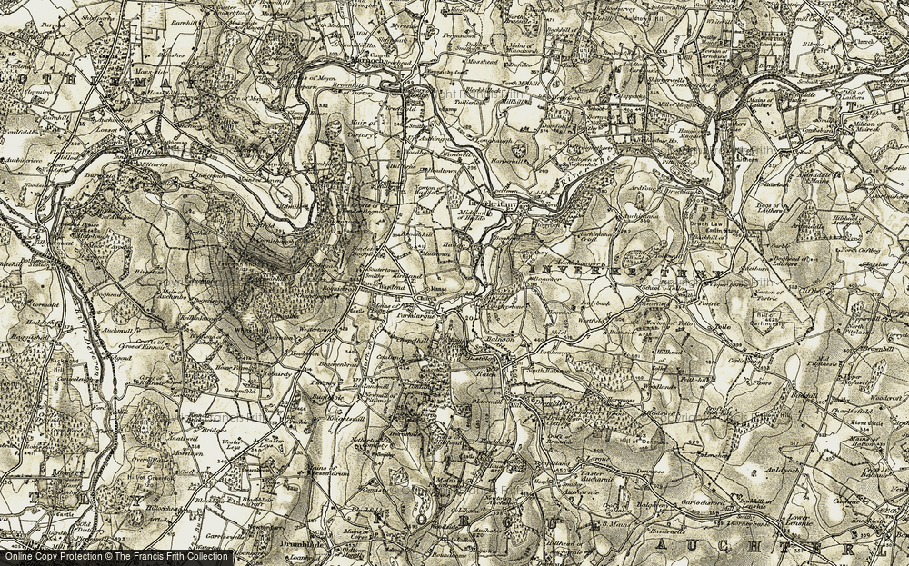 Old Map of Historic Map covering Balnoon in 1908-1910