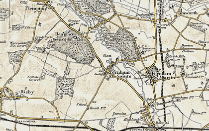 Old map of Fornham All Saints in 1901