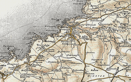 Old map of Forrabury in 1900
