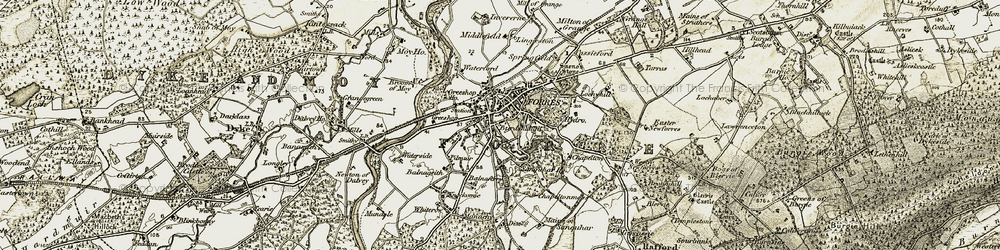 Old map of Lingieston in 1910-1911