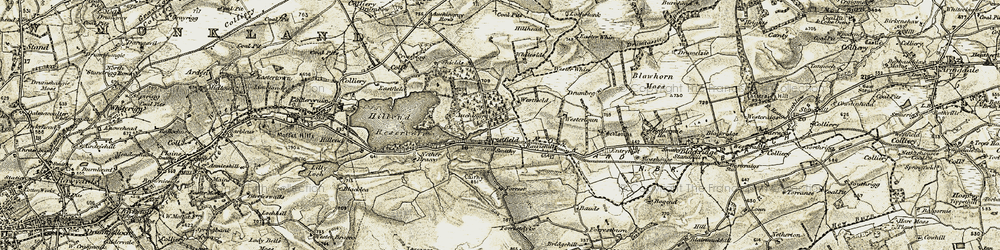 Old map of Wester Whin in 1904-1905