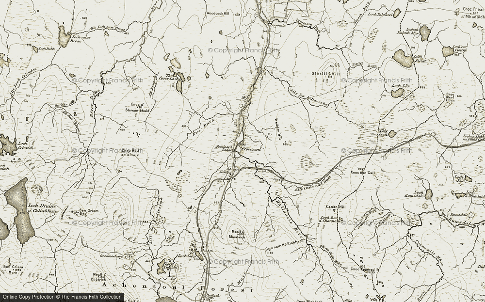 Old Map of Historic Map covering Allt Cnoc nan Gall in 1911-1912