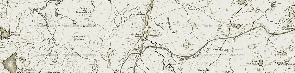 Old map of Allt Cnoc nan Gall in 1911-1912