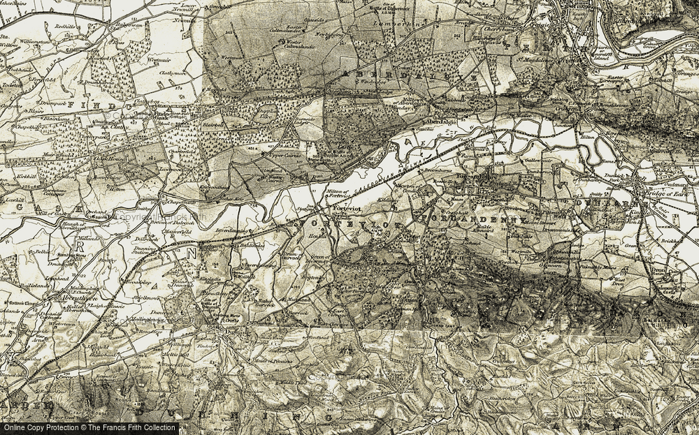 Old Map of Forteviot, 1906-1908 in 1906-1908