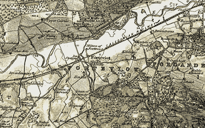 Old map of Wester Cairnie in 1906-1908