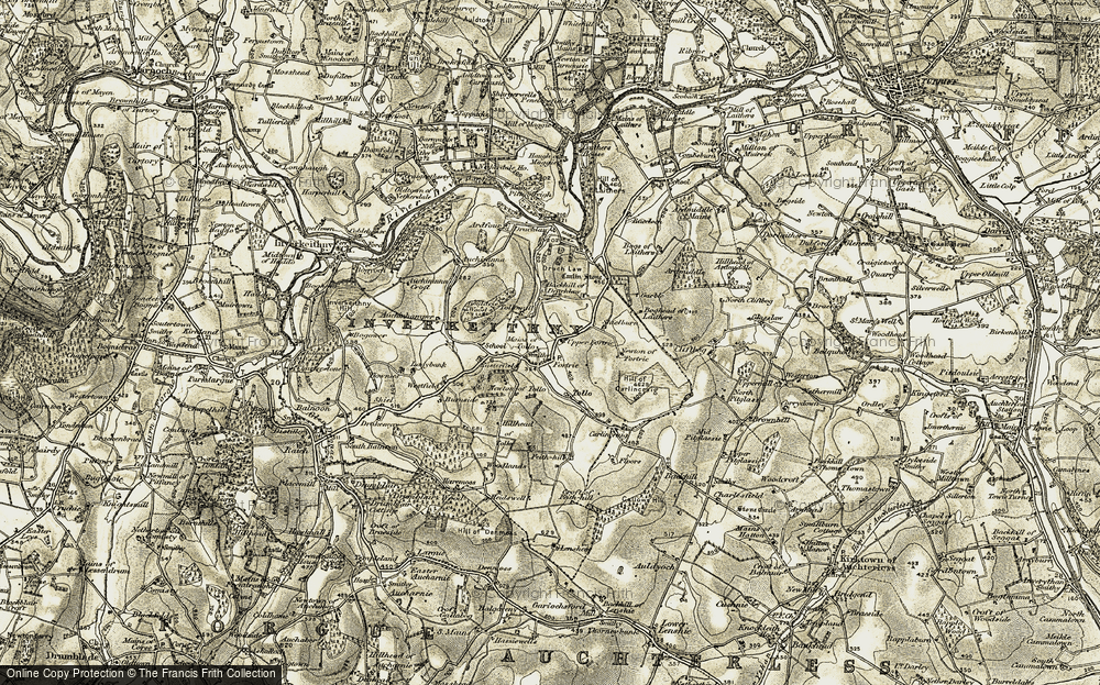 Old Map of Historic Map covering Backhill of Drachlaw in 1908-1910