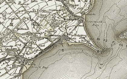 Old map of Fortrose in 1911-1912