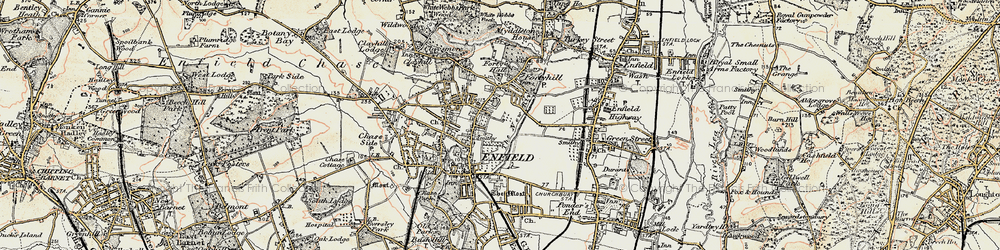 Old map of Forty Hill in 1897-1898